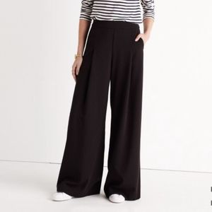 Madewell Caldwell Pullon Black Wide Leg Trousers